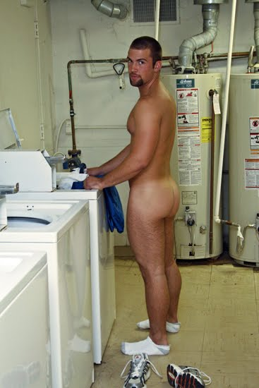 Here Naked men cleaning house