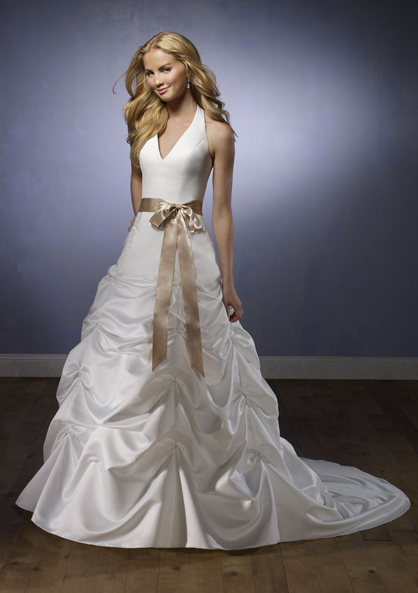 fashion neck wedding dresses