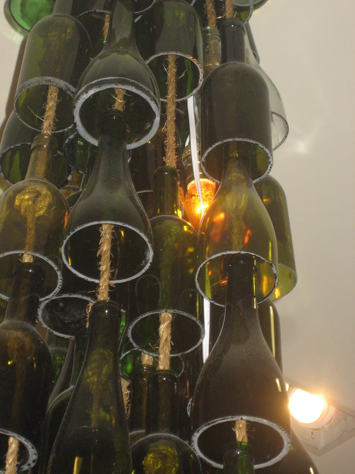 Olive and love wine bottle chandelier hanging glass votives arubaitofo Image collections
