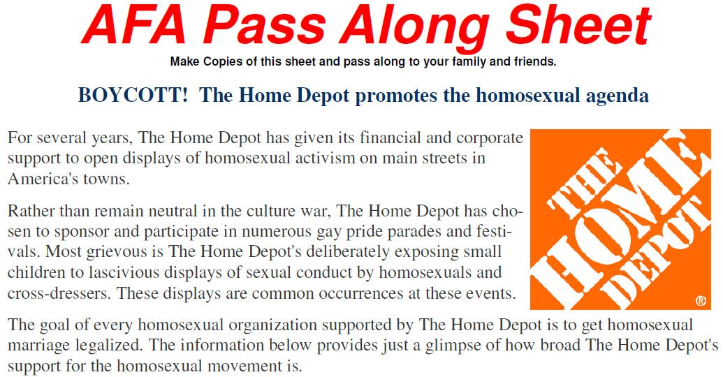 Home depot encourages gay agenda