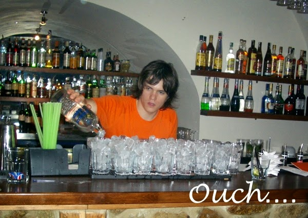 Barman linning up the drinks in Bratislava