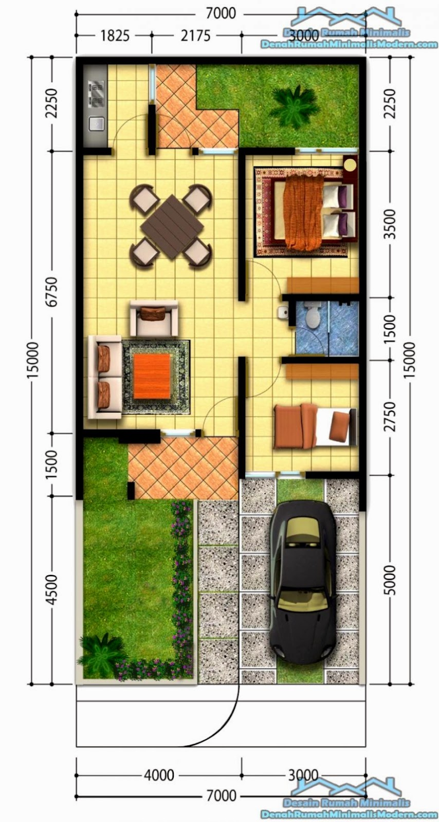 Denah Rumah Minimalis Modern 1 Lantai   Modern Sederhana   Gambar