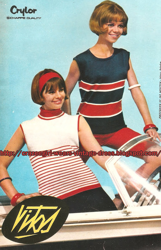 Vitos - Crylor Sleeveless knit top -1965 striped red white blue 60s 1960 mod
