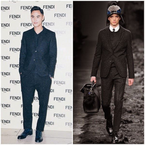 Ethan Ruan Jing Tian wears Fendi Fall Winter 2014 speckled suit at Fendi Un Art Autre Exhibition Hong Kong 23rd October 2014 阮经天出席芬迪香港时装展览