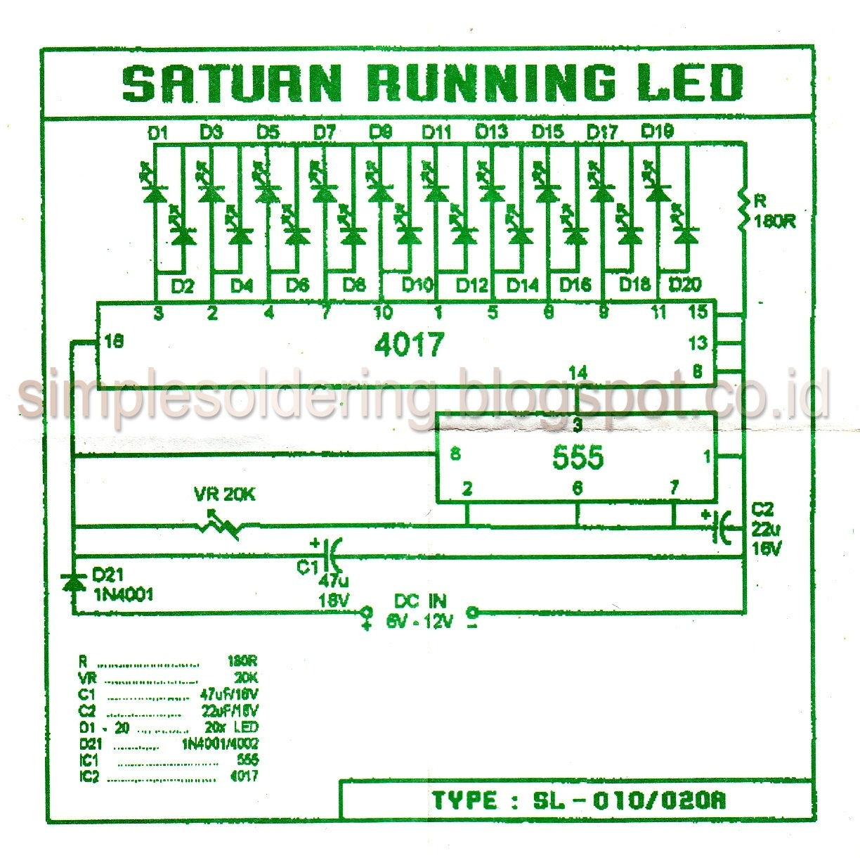 simple experiment and electronics hobby running led circuits rh simplesoldering blogspot com LED Sequencer Circuit LED Circuit Diagram