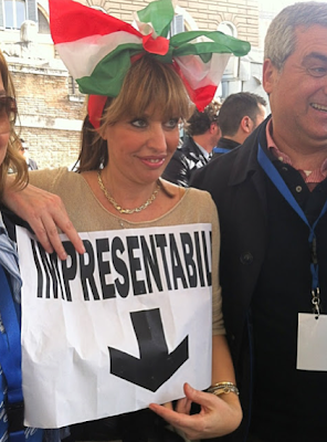 Alessandra Mussolini, one of the unpresentables that showed up in Rome on March 23, 2013