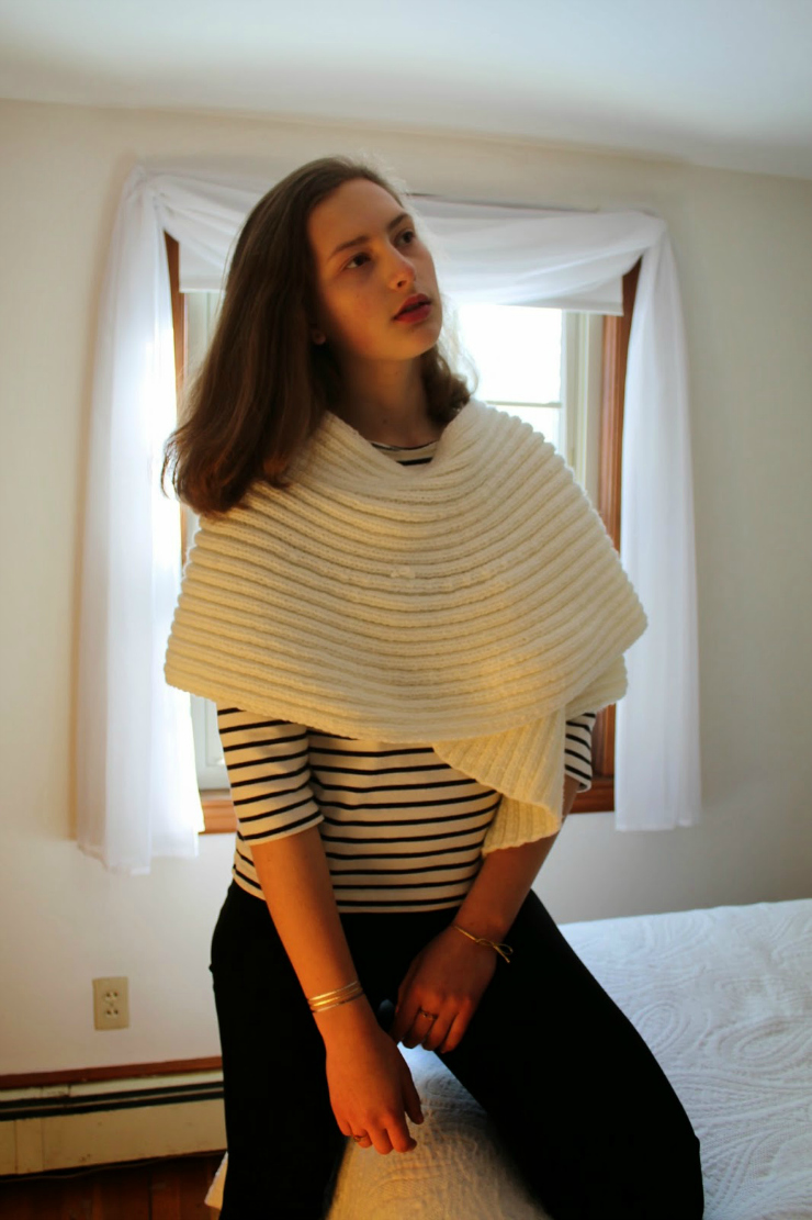 Creme colored knit shawl, leggings and Breton shirt for winter OOTD