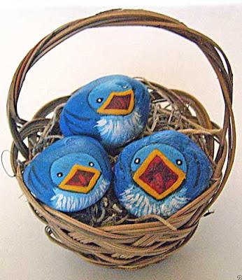 bluebirds, painted rocks, basket, rock painting, Cindy Thomas