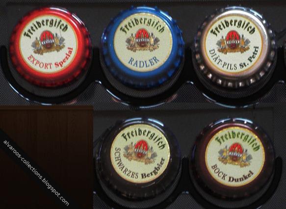 Beer caps collection: Freibergisch Export, Radle, Diat-pils, Schwarzes, Bock