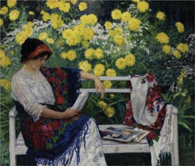 Nicolay Bogdanov-Belsky. Reading in the Garden, 1915
