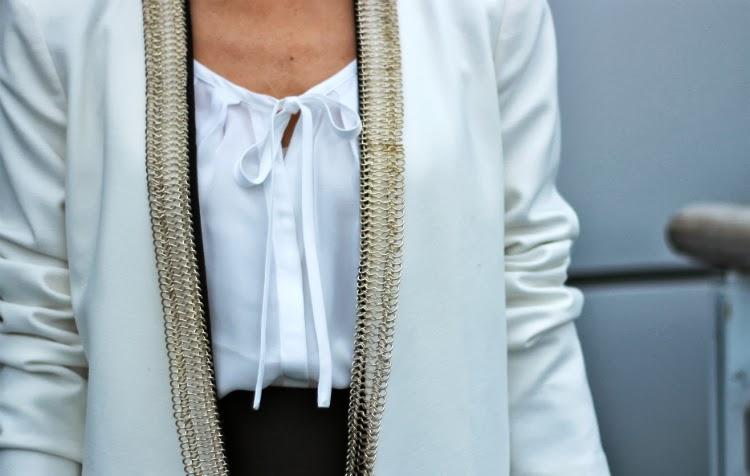 maje blazer jacket joie silk blouse bcbg power skirt chain
