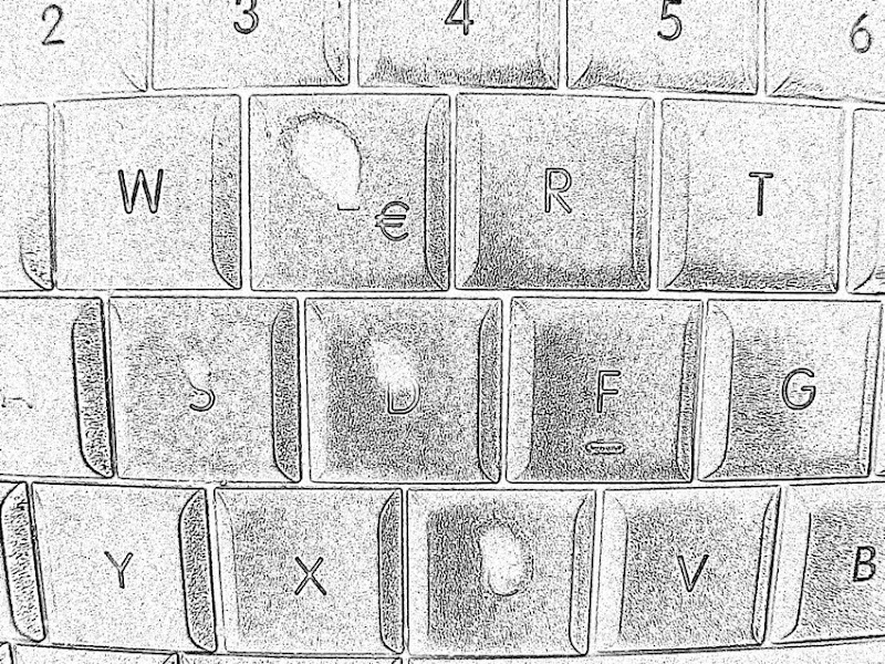 """Abgeschubberte """"E""""-Tastatur, auf der noch das €-Zeichen übrig ist, als Teil des Wortes """"WERT"""", den die Buchstaben bilden"""