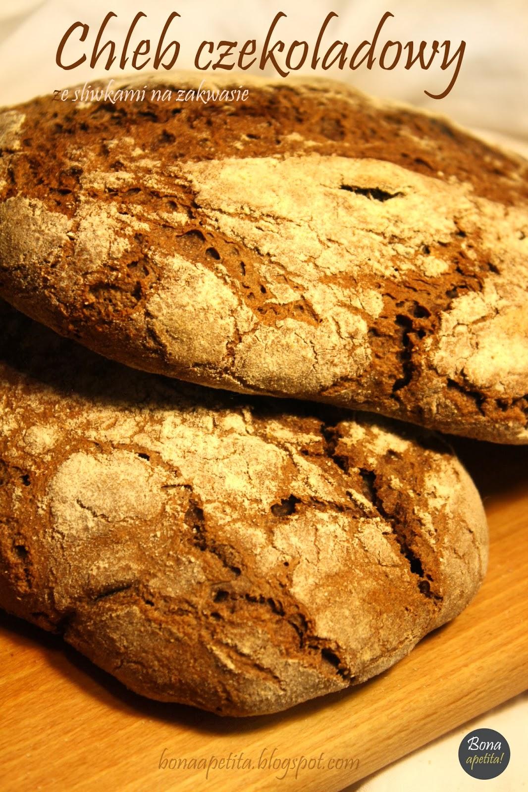 """Chleb czekoladowy ze śliwkami na zakwasie z cyklu """" Wypiekanie na śniadanie"""""""