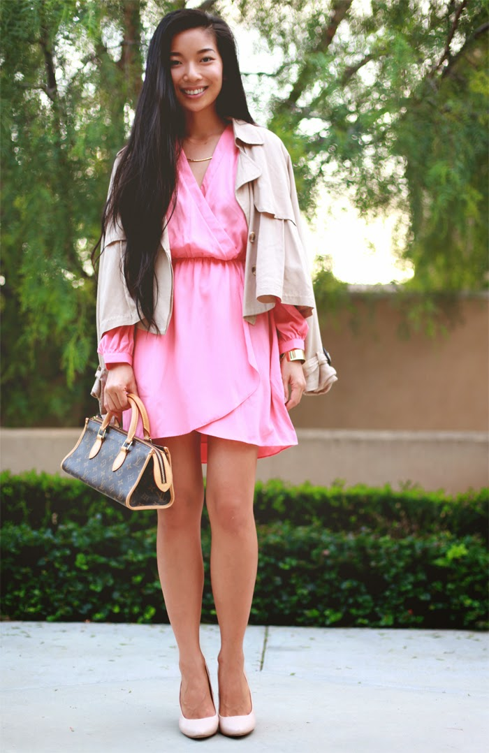 Stephanie Liu of Honey & Silk is wearing an Electric Frenchie wrap dress with Nasty Gal cropped trench and Shoe Cult minx pumps. Help vote for the look on Chictopia's front page!