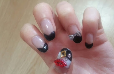 Simple black french nail art! black french ribbon deco parts