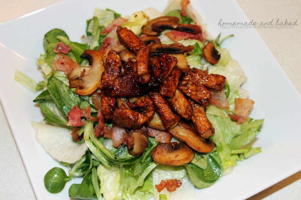 homemade and baked food blog salat mit champignons bacon. Black Bedroom Furniture Sets. Home Design Ideas