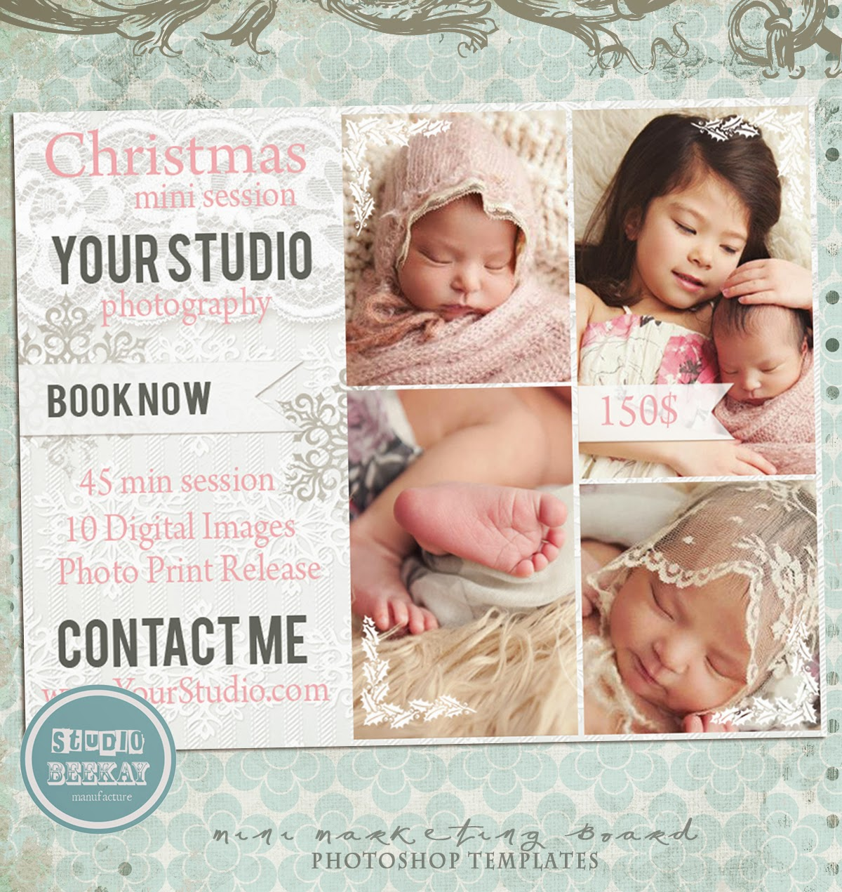 Photoshop Templates for Pro Photographers: Christmas Card Template ...