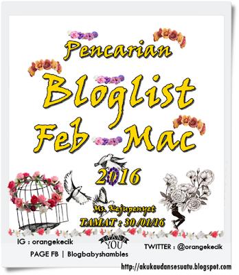 SEGMEN PENCARIAN BLOGLIST FEB - MAC 2016