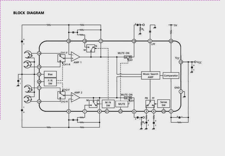 Schematic for Dual Pre Amplifier With A Music Search For Auto Reverse Car Stereo