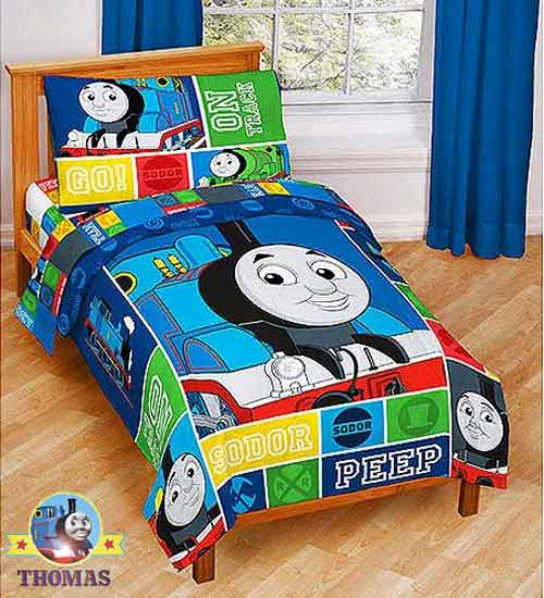 Perfect Boys fashionable toddler bed set Island Sodor railway theme peep peep Thomas and friends steam tank