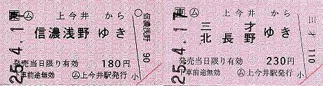 上今井駅 常備軟券乗車券1 一般式