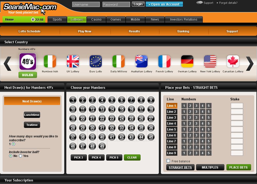 Seaniemac Lotteries Screen