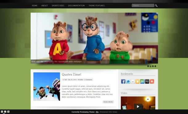 Free Wordpress Kids Green Black Jquery Theme