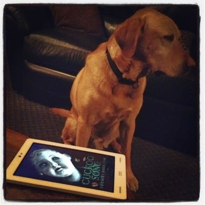 A white Kobo with Cuckoo Song's cover art sits on a stone table. The cover features a hairless, white china doll with a cracked face. Behind the table sits Buster, a large yellow lab. His face is turned away from the Kobo.