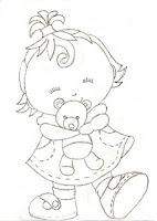 risco para pintar menina e ursinho