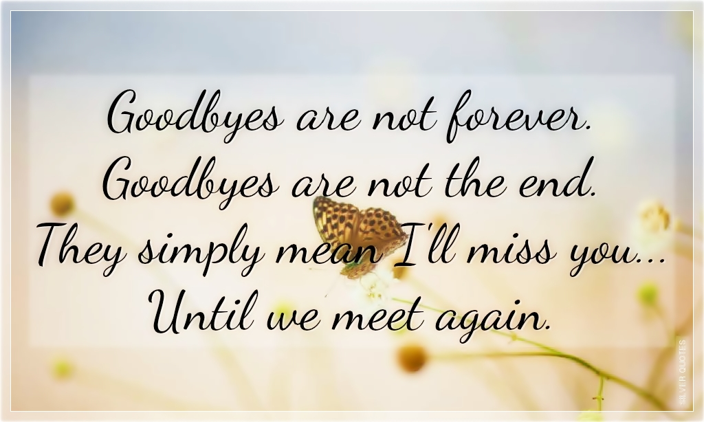 Image result for goodbyes are not forever goodbyes are not the end they simply mean i ll miss you until we meet again
