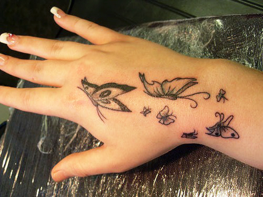 Black Butterfly Tattoos for Stylish Girls Hand