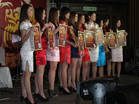 The attractive models lining up during the lucky draw