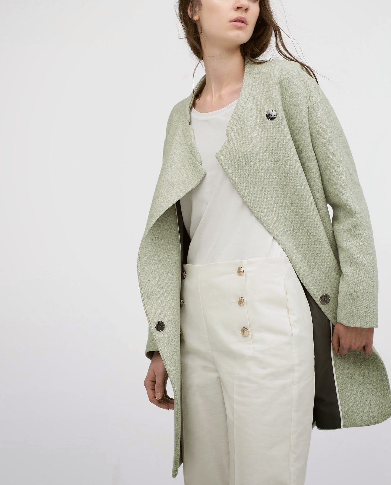 zara light green coat