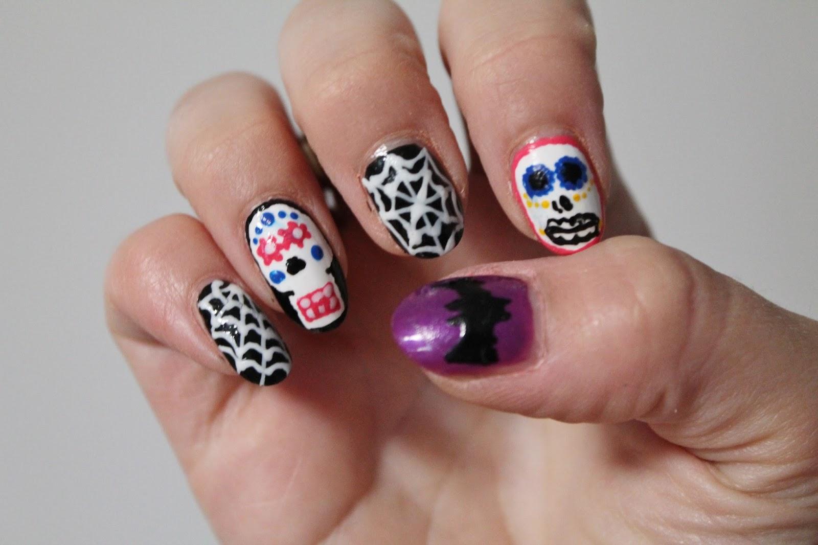 Sugar Skull And Cobweb Nail Art Jersey Girl Texan Heart