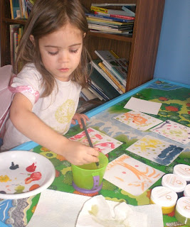 My preschooler painting with Clementine Natural Art Paints.