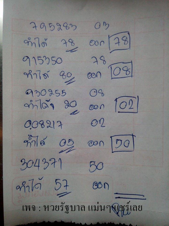 เลขเด็ด หวยล่างชุดเดียวแม่นๆ งวด 1/2/59 (สถิติเข้า 4 งวดซ็อน น่าลุ้นมาก!)