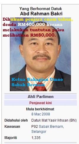 Ahli Parlimen Sabak Bernam, Datuk Abdul Rahman Bakri