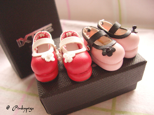 Red and Baby Pink Colour Shoes Soo Cute  - cutipedia