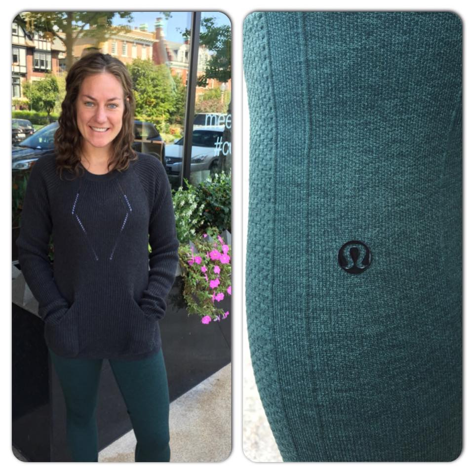 lululemon sweater fuel green in the flow crops