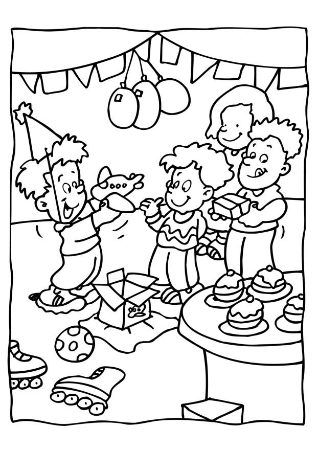 Birthday party coloring child coloring - Color for th birthday ...