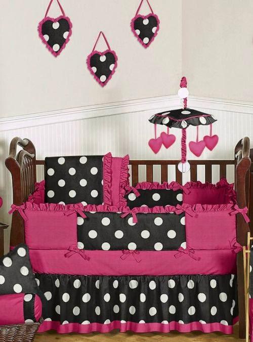 black and white polka dot crib bedding