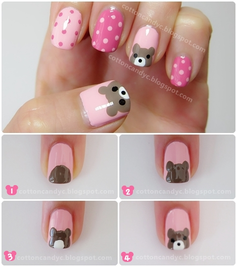 Cotton Candy Blog Bear And Polka Dots Nail Art How To