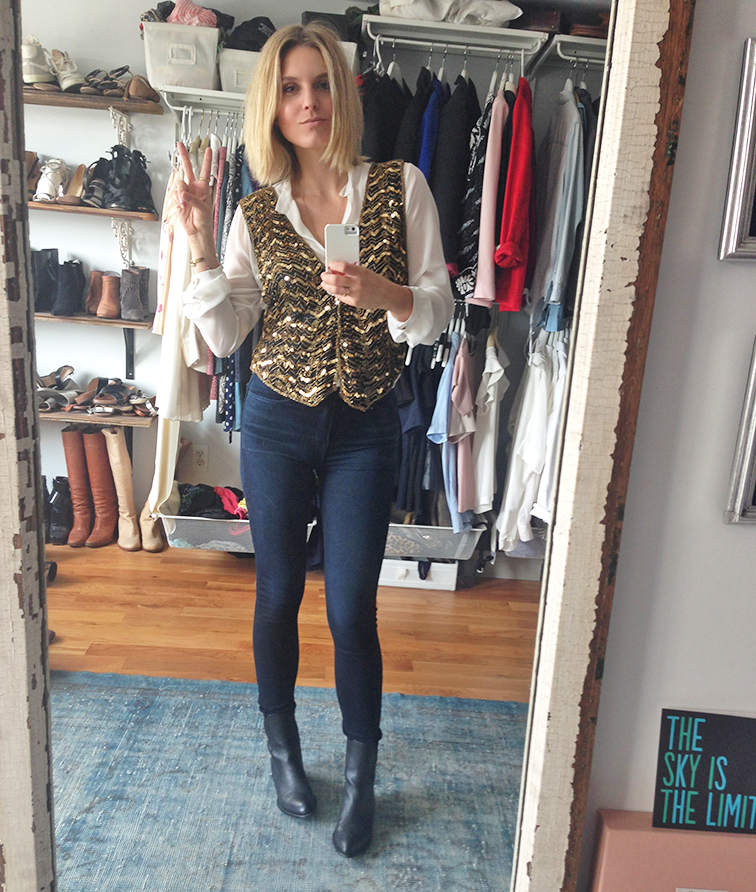 Fashion Over Reason selfie, gold vintage sequined vest, Ann Taylor blouse, Nasty Gal denim, Alexander Wang Anouk boots