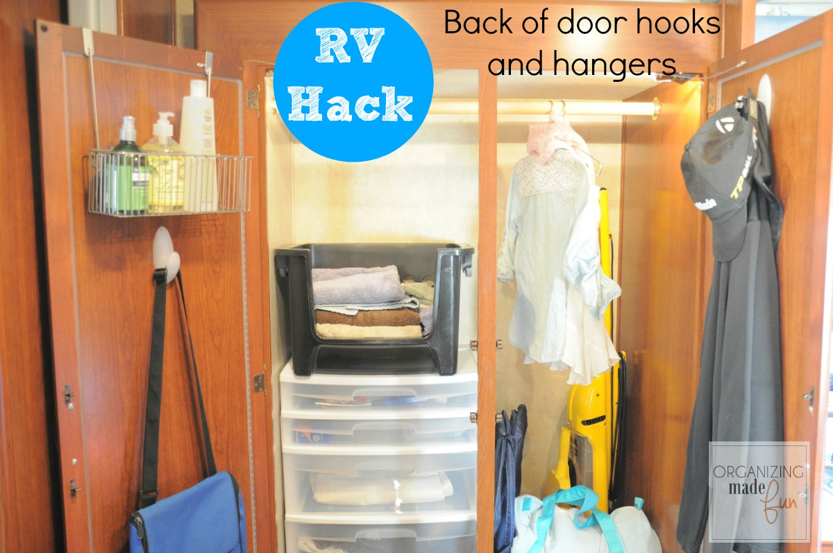 rv hack use vertical space on back of closet doors with hooks