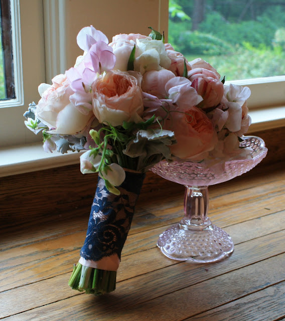 Shirley temple peonies, Juliet roses, pale pink sweet peas and blue lace bridal bouquet - Splendid Stems Floral Designs