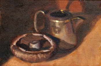 Oil painting of a Swiss Brown mushroom beside a small sliver-plated jug.