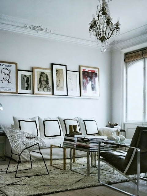 city urban style modern living room gallery wall