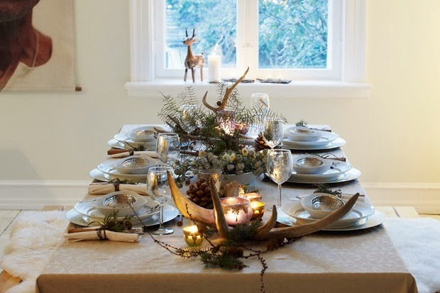 scandinavian table christmas decoration