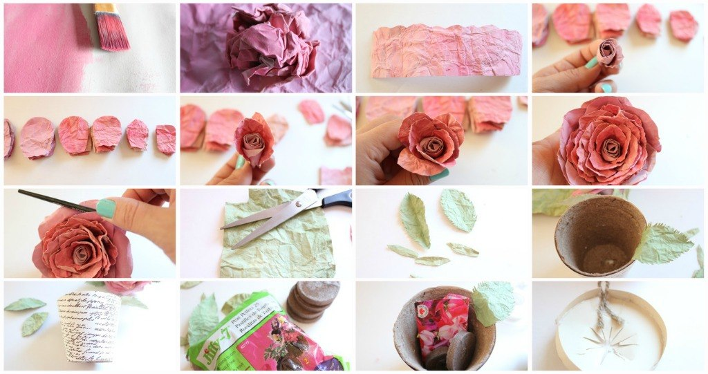 Розы из мятой бумаги своими руками