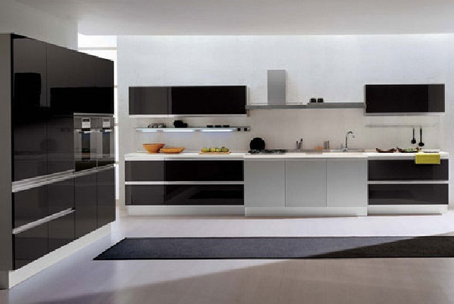 Modular Kitchen Designs Black And White